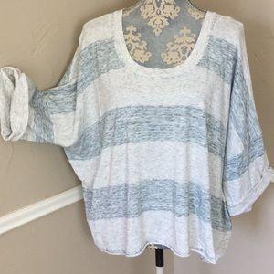 Oversized Stripe Scoop Half Sleeve 100% Cotton